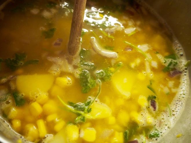 Corn Chilli Soup Chickpeas