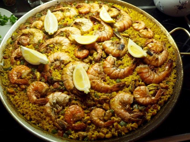 seafood paella with prawns