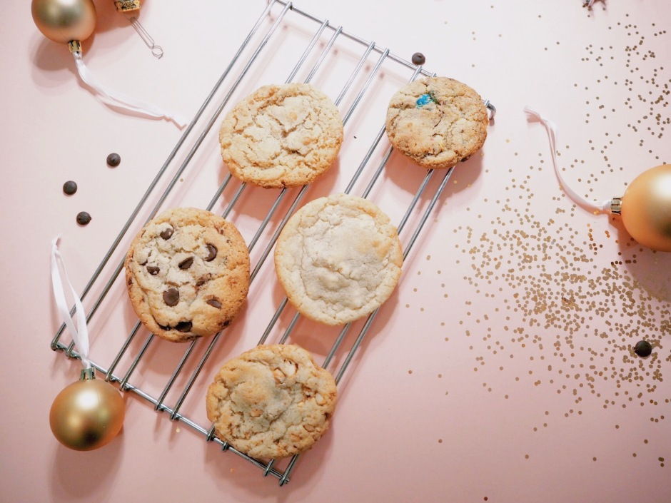 chocolate chip cookies with christmas decoration